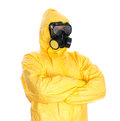 Man in protective hazmat suit isolated on white Royalty Free Stock Photos