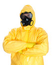 Man in protective hazmat suit isolated on white Stock Images
