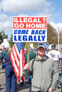 Man protesting illegal aliens. Royalty Free Stock Photo