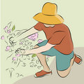 Man Pruning Flower Garden Line Drawing Stock Photography