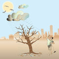 A man pull the cloud to water the nearly die tree in front of cityscape view by pulling it Royalty Free Stock Photos