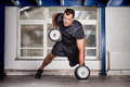 Man pull up barbell crossfit fitness training Royalty Free Stock Photo