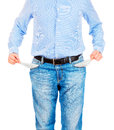 Man pulling out empty pockets Royalty Free Stock Photo