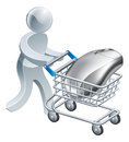Man pushing computer mouse in trolley a person a a cart or online internet shopping concept Royalty Free Stock Images