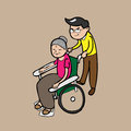 Man pushing wheel chair for mom push wheelchair his cartoon Stock Images
