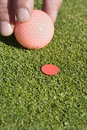 Man Putting Ball on Marker - Vertical Royalty Free Stock Photo