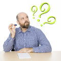 Man with question mark Royalty Free Stock Photo