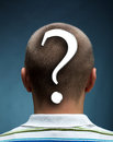 Man with question mark rear view of Royalty Free Stock Image