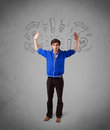 Man with question sign doodles on gradient background handsome Royalty Free Stock Photography