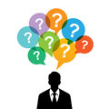 Man with questions vector illustration of black silhouette of a question mark talk bubbles Royalty Free Stock Images