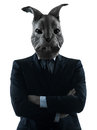 Man with rabbit mask silhouette portrait Stock Image