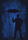 Man in the rain of numbers silhouette businessman with umbrella on background and binary codes vector illustration Royalty Free Stock Image