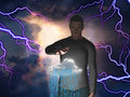 Man with raincloud power over Royalty Free Stock Photos