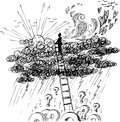 Man reaching sun above a storm with stair going stormy rainy clouds concept sketched illustration about sadness and depression Stock Image