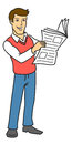 Man read newspaper the with the vector illustration Stock Images