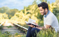 Man reading book Royalty Free Stock Photo
