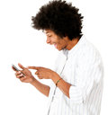 Man reading a funny text message Royalty Free Stock Photography
