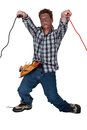 Man receiving electric shock from wire Stock Photos