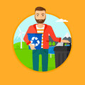 Man with recycle bin and trash can. Royalty Free Stock Photo