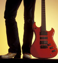 Man with red electric guitar Royalty Free Stock Photo
