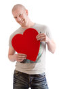 Man with red heart for valentines day isolated on white Stock Image