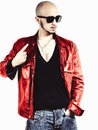 Man in a red leather jacket Royalty Free Stock Photo