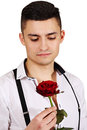 Man with red rose Royalty Free Stock Photo