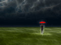 Man with red umbrella under storm abstracted gathering Stock Images