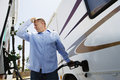 Man Refueling RV Royalty Free Stock Photo