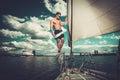 Man on a regatta handsome Stock Photo