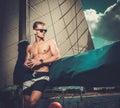 Man on a regatta handsome Royalty Free Stock Photo