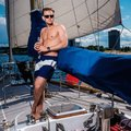 Man on a regatta handsome Royalty Free Stock Images