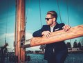 Man on a regatta stylish wealthy luxury wooden Stock Photography