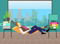 Man relaxing in a hammock in the office vector illustration of an worker hanging during working day Royalty Free Stock Photos