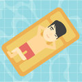 Man relaxing in swimming pool vector illustration. Royalty Free Stock Photo