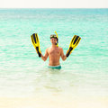 Man, relaxing in yellow black flippers fins and mask. Royalty Free Stock Photo