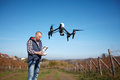 Man remote control drone`s flight Royalty Free Stock Photo