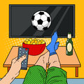 Man with Remote Control Watching Football on TV in Living Room. Pop Art illustration