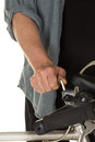 Man repairing bicycle handlebar Royalty Free Stock Photo