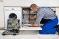 Man Repairing Dishwasher Royalty Free Stock Photo