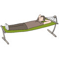 Man resting on hammock an image of a laying in a Royalty Free Stock Images