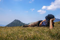 Man resting laying on the grass Stock Image