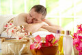 Man resting in spa salon Royalty Free Stock Photo