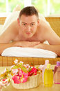 Man resting in spa salon Stock Image