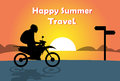 Man Ride Off Road Motor Bike Over Sunset Ocean Beach Happy Summer Travel Banner Royalty Free Stock Photo