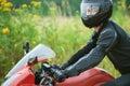 Man rides nice bike Royalty Free Stock Images