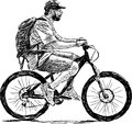 Man riding a bicycle vector image of Stock Photos