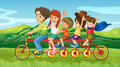 A man riding a bike with four kids illustration of Royalty Free Stock Image