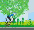 Man riding a bike in the park illustration Stock Photography