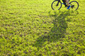 Man riding on a meadow with shadow Royalty Free Stock Photo